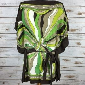 Michael Kors 100% Silk Green Tunic One Size